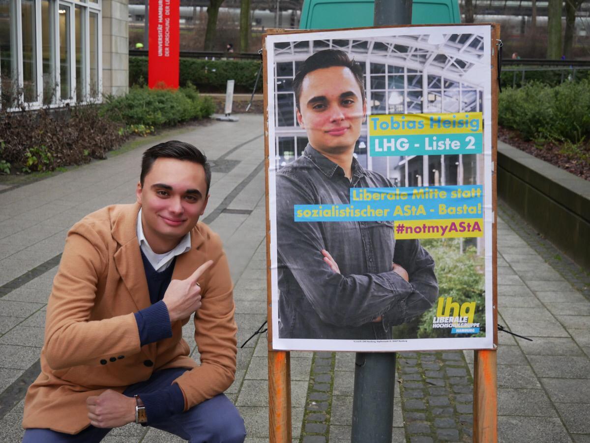 Liberale Hochschulgruppe Hamburg LHG Haburg Wahlkampf Tobias Heisig
